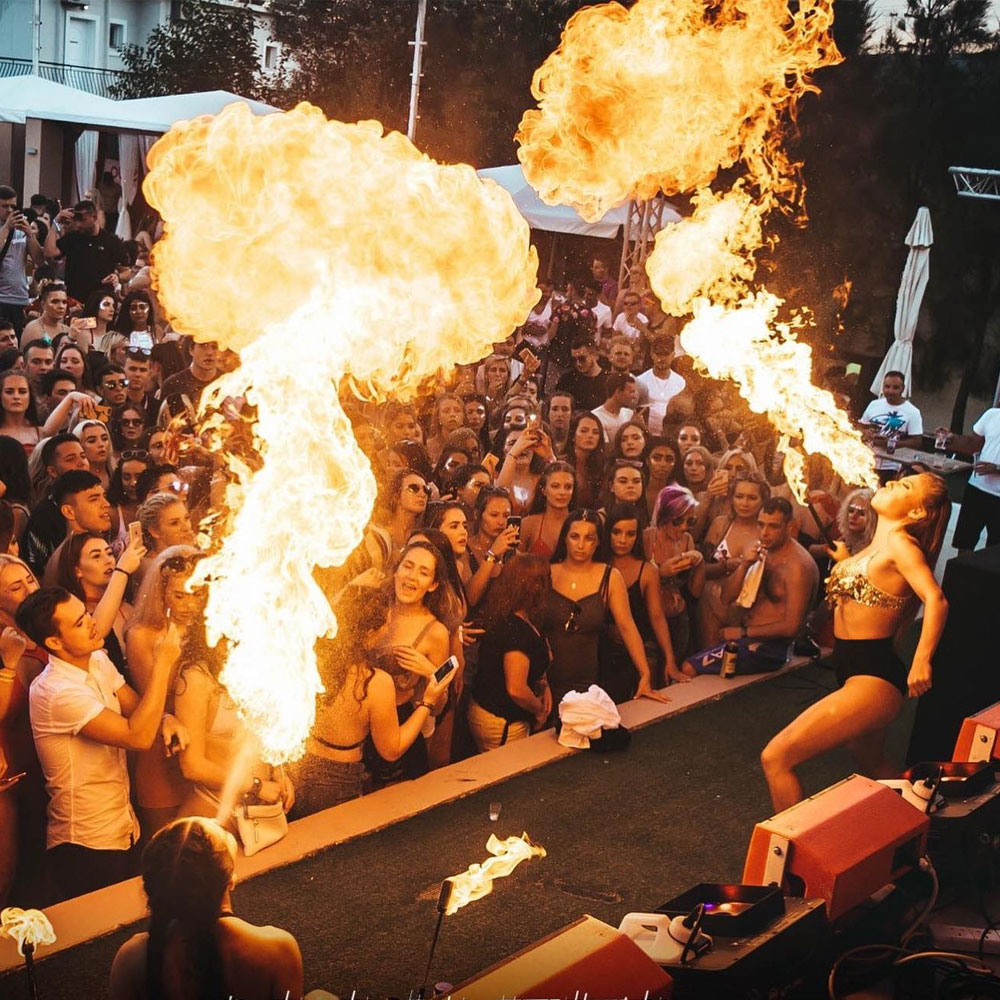 Royle Entertainment Fire breathing on stage